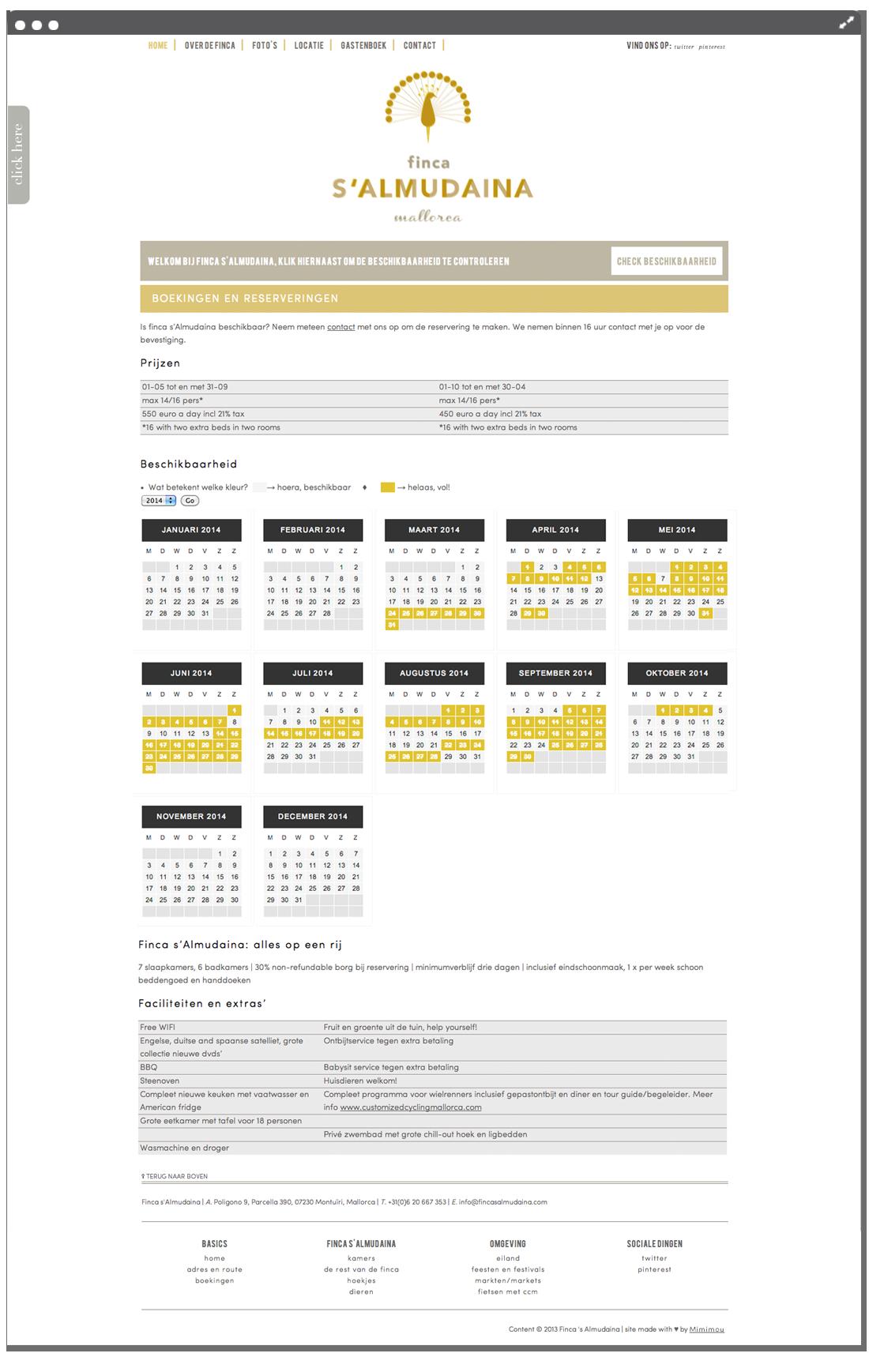 Website finca beschikbaarheid