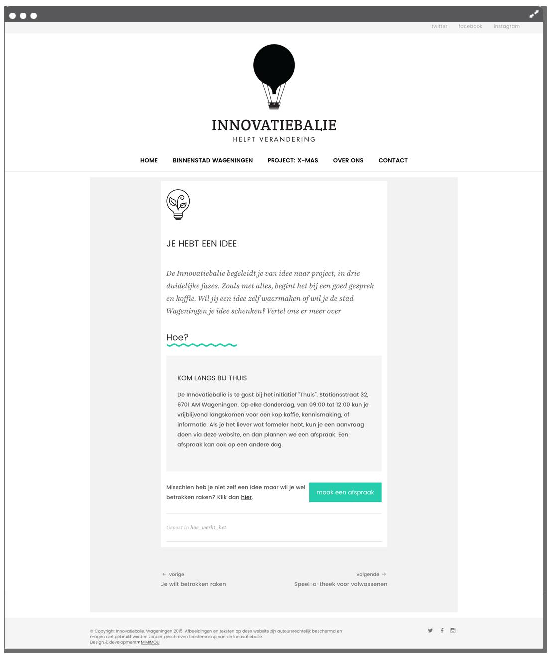Innovatiebalie Page Mimimou