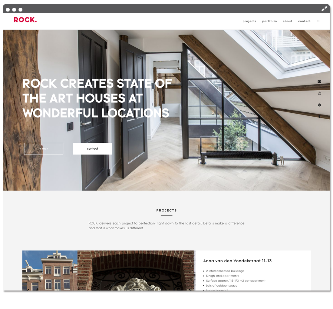 ROCK homepage fold